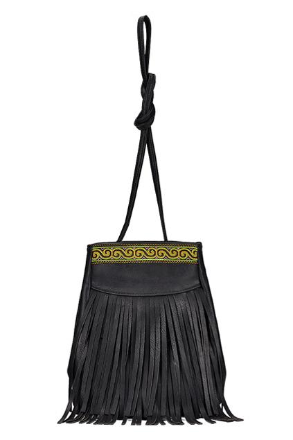ROMWE | Tasseled Embroidered Black Shoulder Bag, The Latest Street Fashion