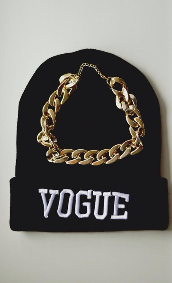 hat beanie vogue gold chain