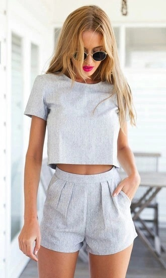 grey top crop tops grey shorts round sunglasses shorts grey jumpsuit romper two-piece two piece shorts and top tank top set 2 piece short set grey short short top grey romper swimwear sexy gray swimwear women beach sexy swimwear women swimwaer women beachwear