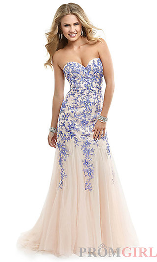 Prom Dresses, Celebrity Dresses, Sexy Evening Gowns - PromGirl: Long Strapless Dress with Lace up Back