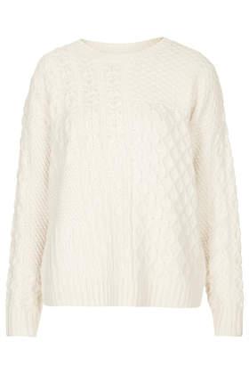 Patch Cable Jumper - Knitwear  - Clothing  - Topshop