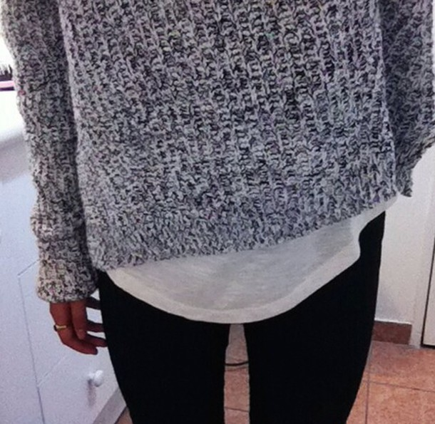 grey sweater knitted sweater shirt