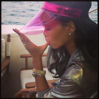 hat jellies pink visor clear jacket