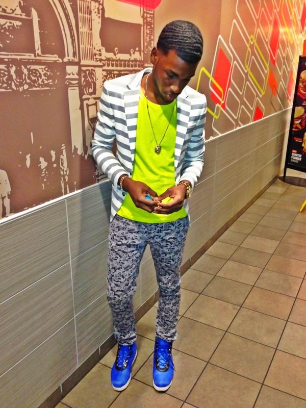 jacket menswear mens shirt neon blazer jeans shoes sneakers gold silver white green