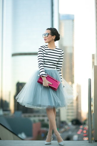 wendy's lookbook blogger sunglasses pouch striped sweater tulle skirt
