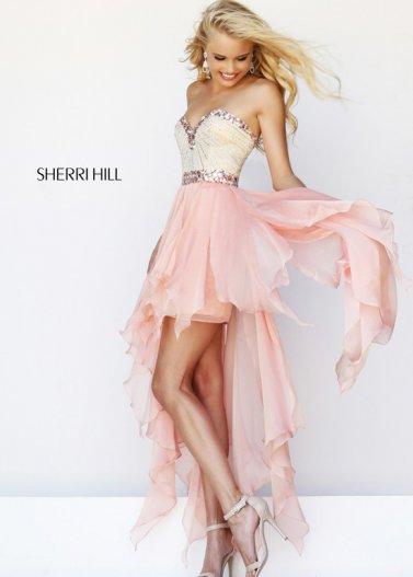 Pink Jeweled Neckline Waist High Low Sherri Hill 1920 Dress [Sherri Hill 1920 Pink] - $182.00 : Prom Dresses 2014 Sale, 70% off Dresses for Prom