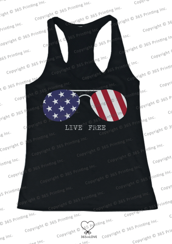 July 4th Red White and Blue Live Free American Flag Sunglasses Women's Tank Tops | eBay