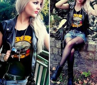 shirt rock vest shorts boots tights sunglasses guns and roses leather jacket jacket