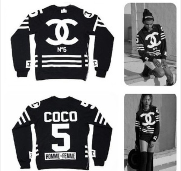 sweater chanel chanel streetstyle hood by air jacket black and white menswear for women n°5 chanel tracksuit tracksuit t-shirt bag black 55 on it chanel sweater coco sweater chanel purse coco chanel sweater