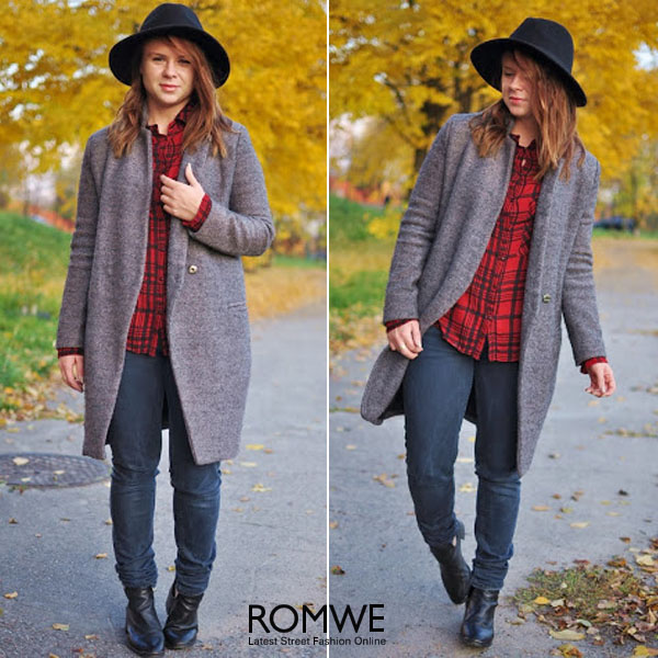 ROMWE | Stand Collar Grey Coat, The Latest Street Fashion