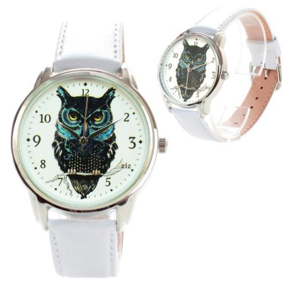 jewels watch watch leather watch white owl owl watch unique watch unusual watch designer watch ziziztime ziz watch