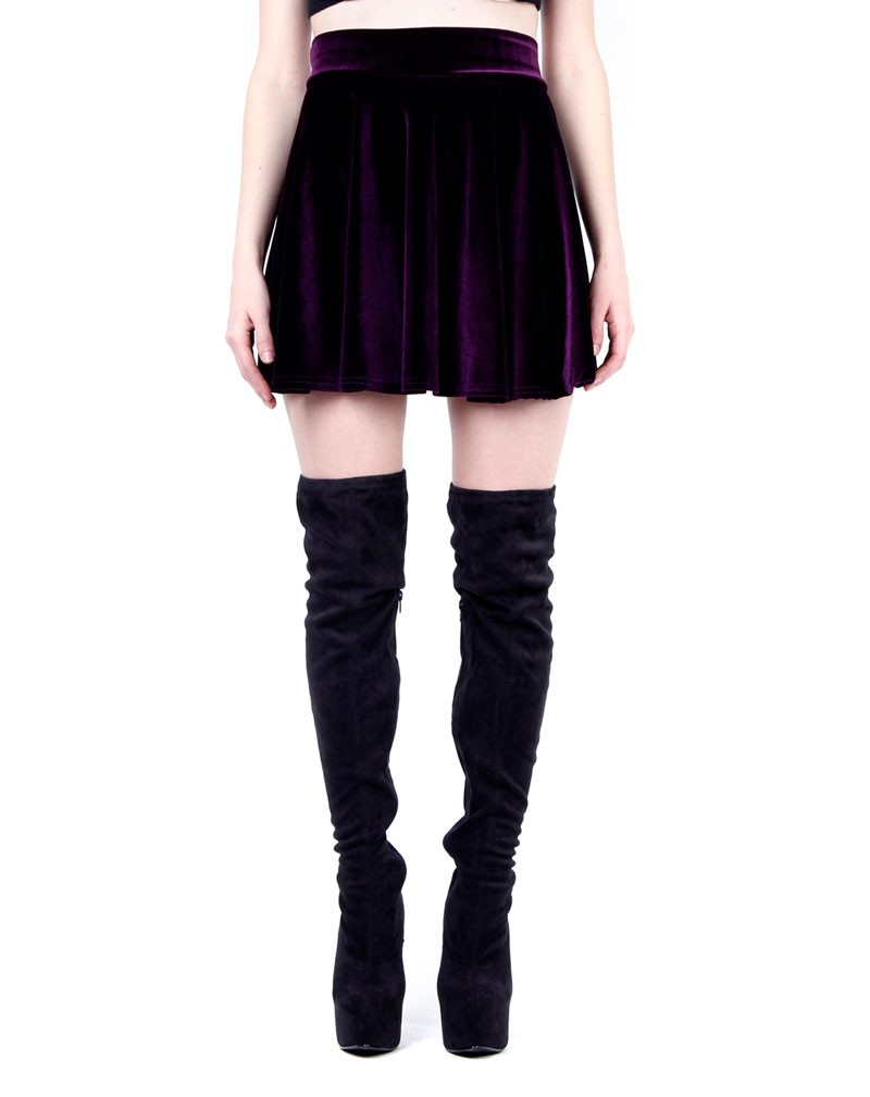 Charlotte Purple Velvet Skater Skirt   PrettyLittleThing.com