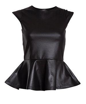 Club L Black Leather-Look Peplum Top