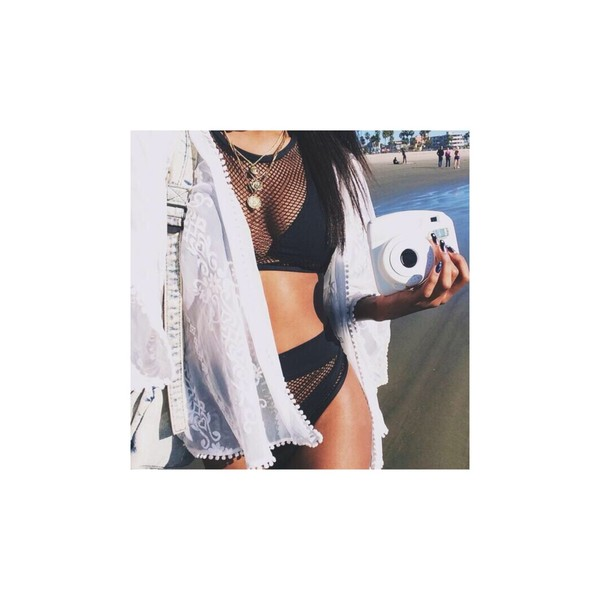 swimwear black bikini camera beach kimono white high waisted bikini net cardigan bikini black net kim kardashian