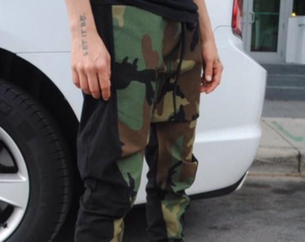 pants harem pants army print black side drop crotch