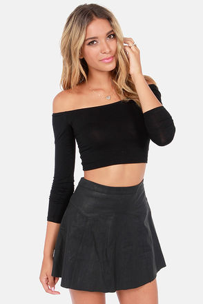 Cute Off-the-Shoulder Top - Black Top - Crop Top - $23.00