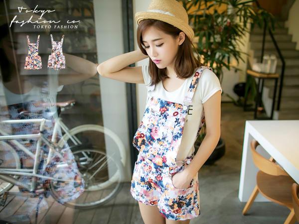 Floral Suspender Shorts - Tokyo Fashion | YESSTYLE Australia