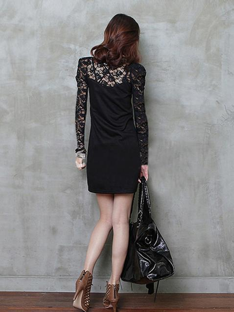 Free shipping  2014 new fashion sexy big size women long sleeves lace dress black S/M/L/XL 4XL  plus size dress-in Dresses from Apparel & Accessories on Aliexpress.com