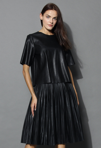top modern crisp faux leather top in black chicwish faux leather black top