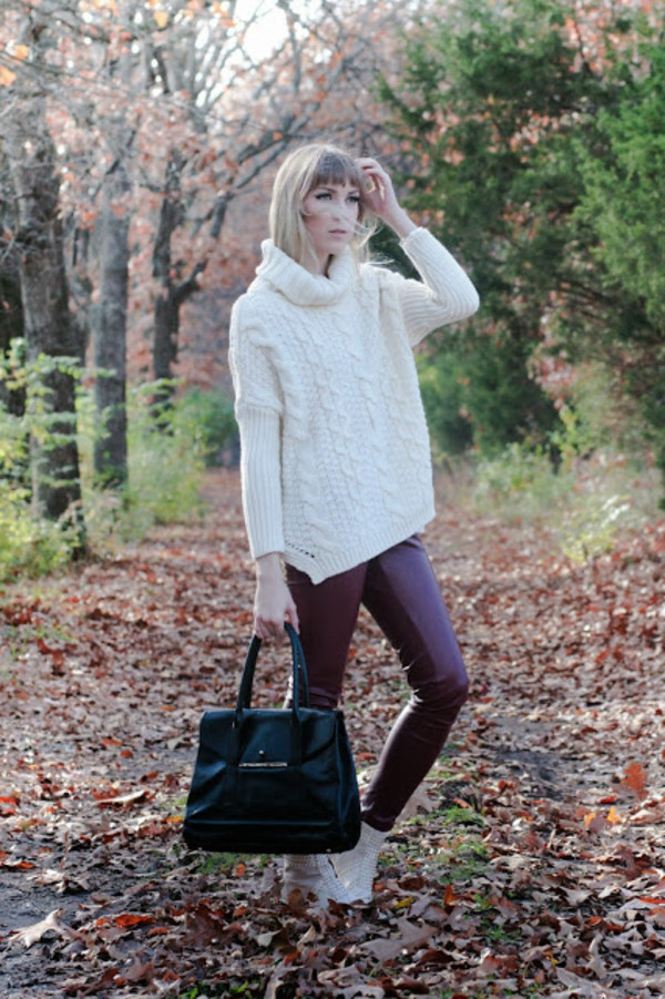 ashley treece sweater pants shoes jewels bag