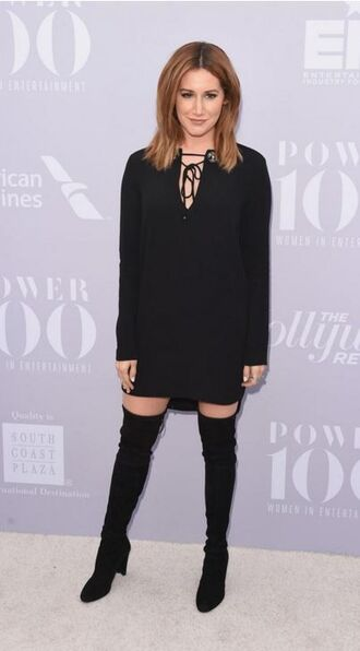 dress all black everything boots over the knee boots black dress ashley tisdale shoes