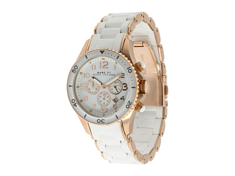 Marc by Marc Jacobs MBM2547 - Rock Chronograph  Rose Gold/White Silicone - Zappos Couture