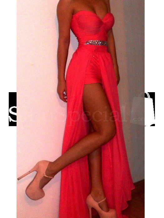 Amazing Bright Coral Sheath/Column Sweetheart Neckline Floor Length Split Prom Dress-SinoSpecial.com