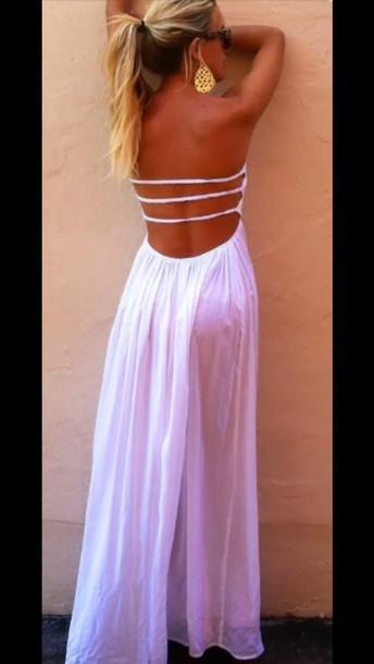 dress white dress beach beach stras long dress streplessdress sleeveless dress bandeaudress beach dress sunglasses golden earrings long dress. strepless bandeau
