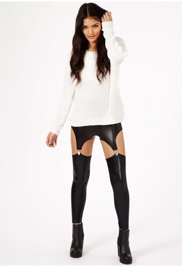 Posie Wet Look Suspender Leggings - Leggings - Missguided