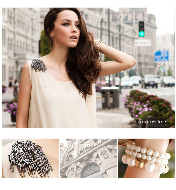 Free shipping wholesale 2013 new Catwalk original single beading epaulette irregular lacing candy color sleeveless chiffon dress-in Dresses from Apparel & Accessories on Aliexpress.com