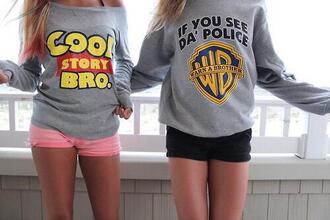sweater grey sweater warner brother toy story cool story bro if you see da police