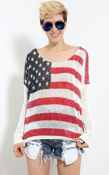 Woven American Flag Sweater | MakeMeChic.com
