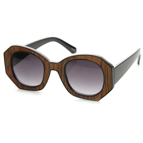 Trendy Womens Fashion Block Cut Hexagon Oversize Sunglasses 9158                           | zeroUV