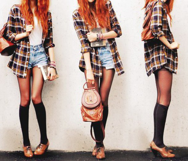 shirt tartan button up shirt leather backpack leather shoes shorts denim shorts red hair tights high socks