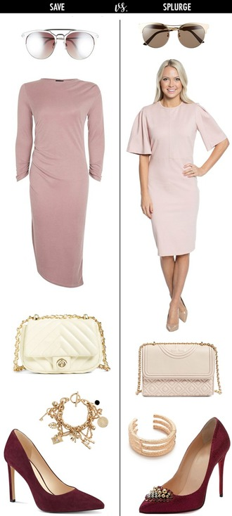 dailystylefinds blogger sunglasses dress bag jewels shoes pink dress pink bag high heels