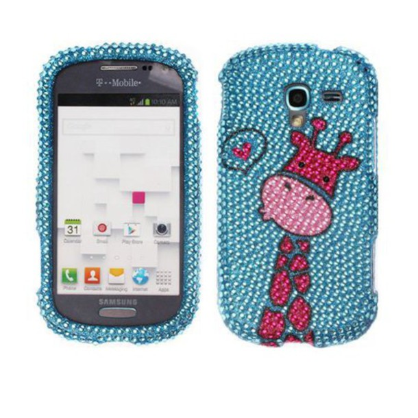 phone cover galaxy exhibit rhinestones giraffe pink phone cover