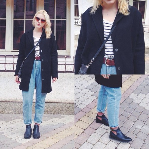 jeans boyfriend jeans black coat boots topshop leather biker boots black coat chunky high heeled ankle boots chelsea boots coat