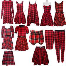 Ladies RED Tartan Check Print Swing Tunic Skater Dress Pencil MIDI Skirt Skort | eBay