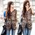 Women's Half Sleeve Leopard Chiffon Blouse Shirt With Belt