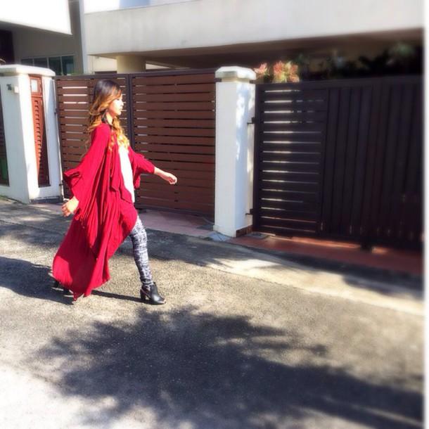 cardigan red maxi kimono long cardigan long coat boho boho chic trendy