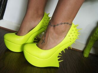 shoes privileged spike spikes neon yellow acid wash high wedges party heel heels high heels
