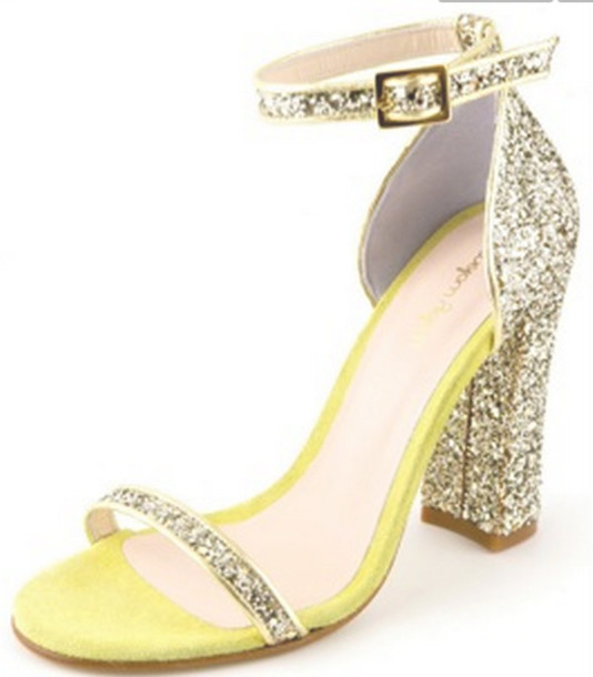 shoes glitter sandals yellow