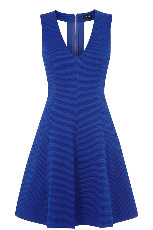 Textured Jacquard Skater Dress | Blue | Oasis Stores
