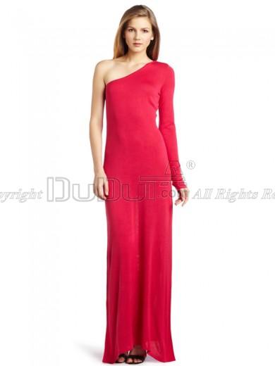 Sheath/Column Silk-like One shoulder Empire Long Sleeve Floor-length Evening Dresses, Evening Dresses
