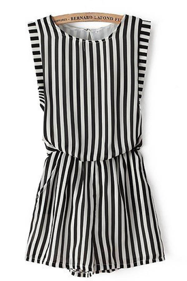 Black White Stripe Print Stylish Romper @ Rompers And Jumpsuits For Women-Strapless Jumpsuit,Long Sleeve Jumpsuit,Long Sleeve Romper,Short Rompers,Floral Romper,Strapless Romper,Floral Jumpsuit,Backless Jumpsuit,Black Jumpsuit,Denim Jumpsuit,V Neck Jumpsuit