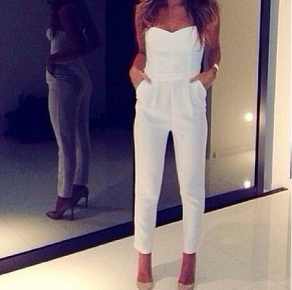 dress jumper romper white braclet high heels pants jumpsuit