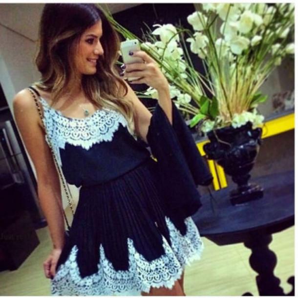 dress fashion lace dress black dress