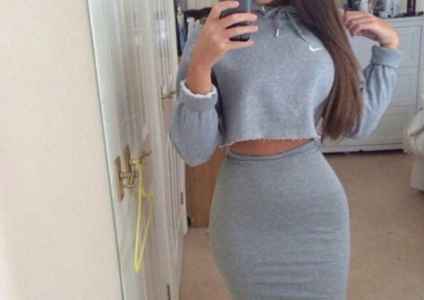 sweater nike grey gray crop hoode