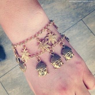 jewels buddha weed marijuana bracely bracelets charm bracelet gold bracelet