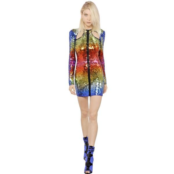 EMILIO PUCCI Sequined Tulle Dress - Multi - Polyvore